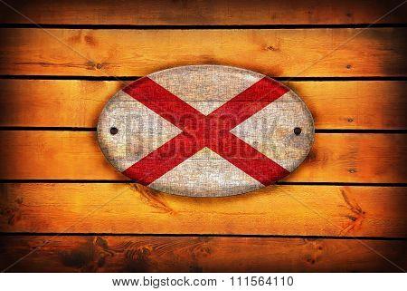 Wooden Alabama Flag.
