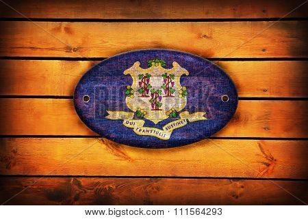 Wooden Connecticut Flag.