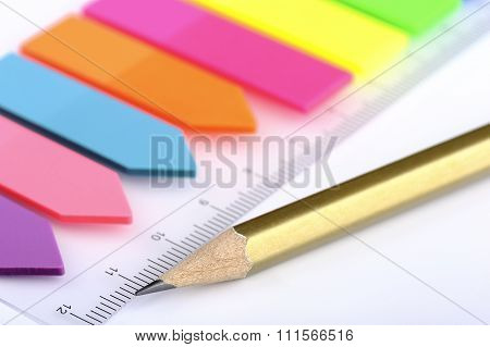 Plastic stickers bookmarks and pencil