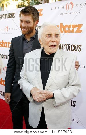 LOS ANGELES, CA - MAY 31, 2012: Liam McIntyre and Kirk Douglas at the Starz Celebrates the Original Spartacus held at the Leonard Goldenson Theatre in Los Angeles, USA on May 31, 2012.