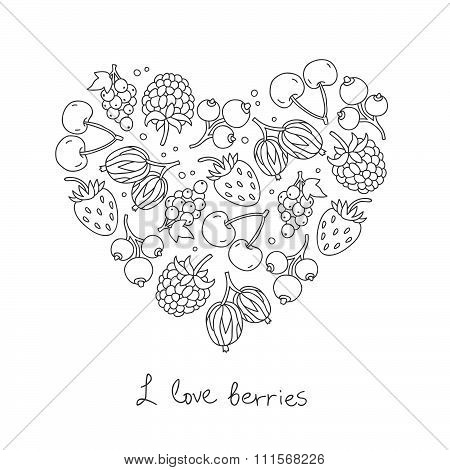 Berries icons in the shape of a heart