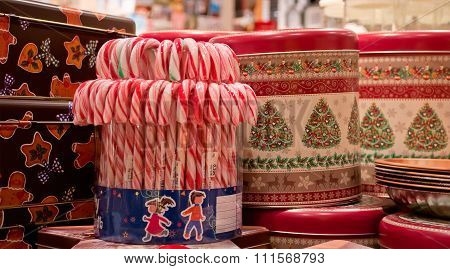 Peppermint Candy Canes With Gift Boxes. Christmas