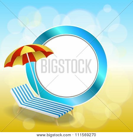 Abstract background summer beach vacation deck chair red umbrella blue yellow circle frame