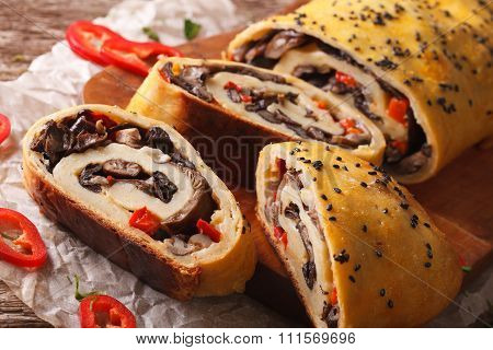 Stromboli Stuffed With Wild Mushrooms And Pepper Close-up