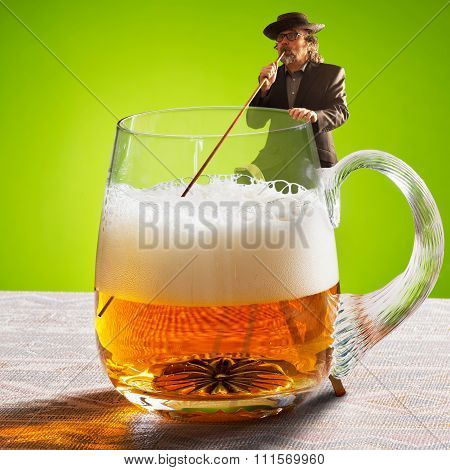 Humorous Image With Drinker And Two Beers