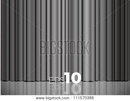 Gray Or Silver Closed Satin Fabric Curtains