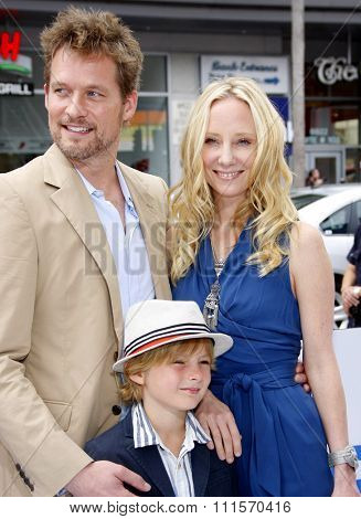 HOLLYWOOD, CA - JUNE 12, 2011: James Tupper, Homer Laffoon and Anne Heche at the LA premiere of 'Mr. Popper's Penguins' held at the Grauman's Chinese Theatre in Hollywood, USA on June 12, 2011.