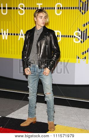 LOS ANGELES, CA - AUGUST 30, 2015: Justin Bieber at the 2015 MTV Video Music Awards held at the Microsoft Theater in Los Angeles, USA on August 30, 2015.