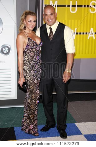 LOS ANGELES, CA - AUGUST 30, 2015: Amber Nichole Miller and Tito Ortiz at the 2015 MTV Video Music Awards held at the Microsoft Theater in Los Angeles, USA on August 30, 2015.