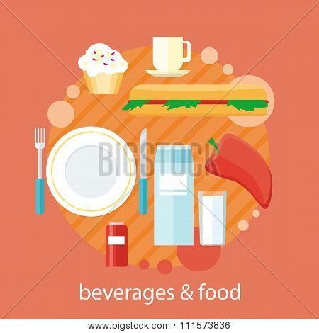 Beverages and Food Design Flat