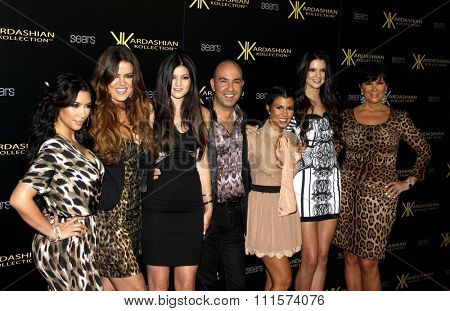 Bruno Schiavi, Khloe Kardashian, Kylie Jenner, Kris Jenner, Kourtney Kardashian, Kim Kardashian and Kendall Jenner at the Kardashian Kollection Launch Party in Hollywood, USA on August 17, 2011.