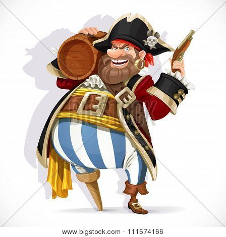 Old Pirate With A Wooden Leg Holding A Keg Of Rum And Pistol Isolated On A White Background