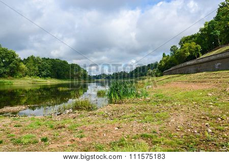 Shallowing Of Western Dvina Due To Dry Summer, Vitebsk, Belarus