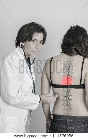 Doctor Auscultating Patient By Stethoscope. Drawing Spine In The Back.