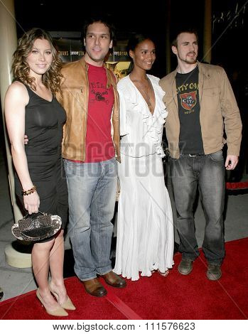 HOLLYWOOD, CA - FEBRUARY 06, 2006: Chris Evans, Dane Cook, Jessica Biel and Joy Bryant at the Los Angeles premiere of 'London' held at the Arclight Cinemas in Hollywood, USA on February 6, 2006.