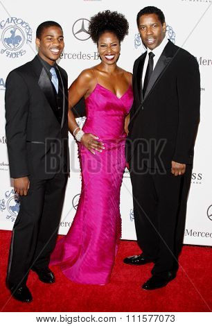 Denzel Washington, Pauletta Washington and Malcolm Washington at the 30th Anniversary Carousel Of Hope Ball held at the Beverly Hilton Hotel in Beverly Hills, USA on October 25, 2008.