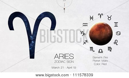 Zodiac sign - Aries. Cool astrologic infographics. Elements of this image furnished by NASA
