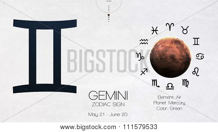Zodiac sign - Gemini. Cool astrologic infographics. Elements of this image furnished by NASA