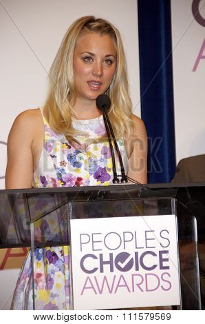 BEVERLY HILLS, CA - NOVEMBER 15, 2012: Kaley Cuoco at the People's Choice Awards 2013 Nominations held at the Paley Center in Beverly Hills, USA on November 15, 2012.