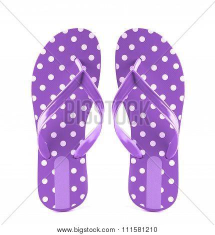 Summer Fashion Purple Flip Flop Sandals Isolated On White Background