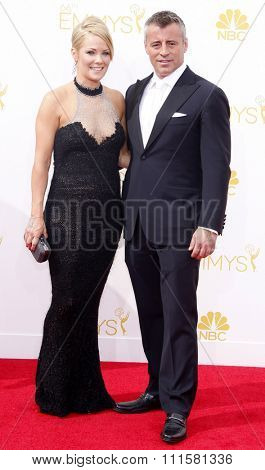 LOS ANGELES, CA - AUGUST 25, 2014: Matt LeBlanc and Andrea Anders at the 66th Annual Primetime Emmy Awards held at the Nokia Theatre L.A. Live in Los Angeles, USA on August 25, 2014.