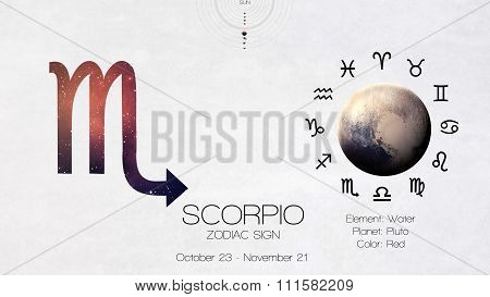 Zodiac sign - Scorpio. Cool astrologic infographics. Elements of this image furnished by NASA