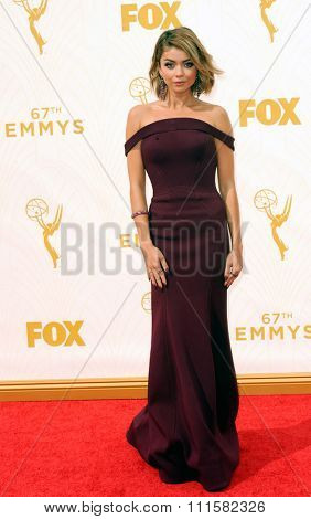 LOS ANGELES, CA - SEPTEMBER 20, 2015: Sarah Hyland at the 67th Annual Primetime Emmy Awards held at the Microsoft Theater in Los Angeles, USA on September 20, 2015.