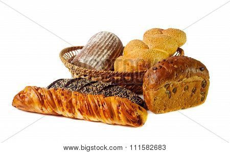Variety Of Bread Isolated On White. Selective Focus