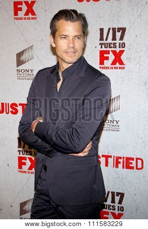 HOLLYWOOD, CA - JANUARY 10, 2012: Timothy Olyphant at the FX's Season 3 Screening of 'Justified' held at the DGA Theater in Los Angeles, USA on January 10, 2012.