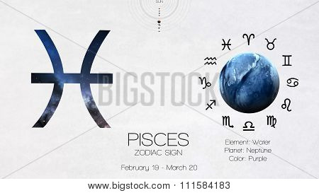 Zodiac sign - Pisces. Cool astrologic infographics. Elements of this image furnished by NASA