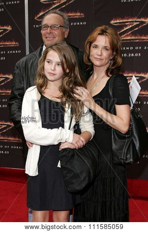 LOS ANGELES, CA - OCTOBER 16, 2005: Howard Deutch, Lea Thompson and Zoey Deutch at the Los Angeles premiere of 'The Legend of Zorro' held at the Orpheum Theater in Los Angeles USA on October 16, 2005.