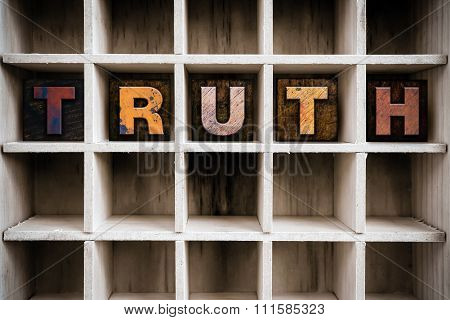 Truth Concept Wooden Letterpress Type In Drawer