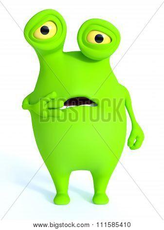 Cute Green Monster Looking Shocked.