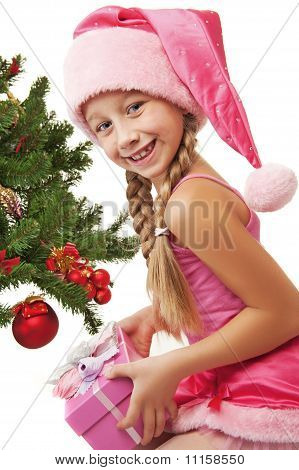 Little Santa Girl Holding A Gift Box ....