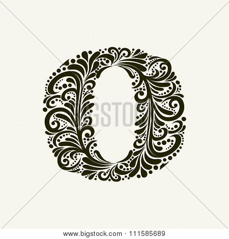 Elegant capital letter O in the style of the Baroque. To use monograms, logos, emblems and initials.