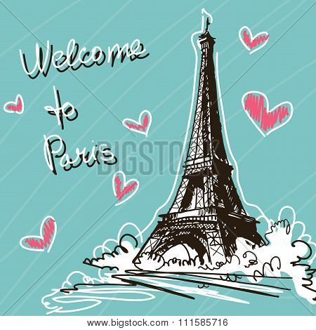 Greeting Vector Illustration. World Famous Landmark Series: Fran