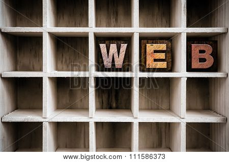 Web Concept Wooden Letterpress Type In Drawer