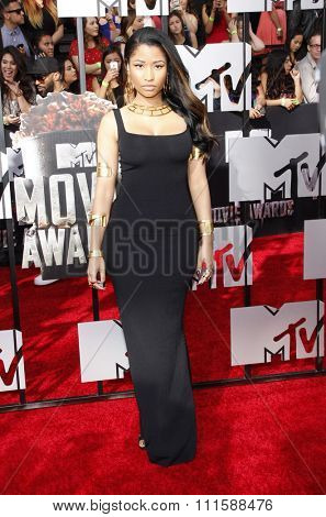 LOS ANGELES, CA - APRIL 13, 2014: Nicki Minaj at the 2014 MTV Movie Awards held at the Nokia Theatre L.A. Live in Los Angeles, USA on April 13, 2014.