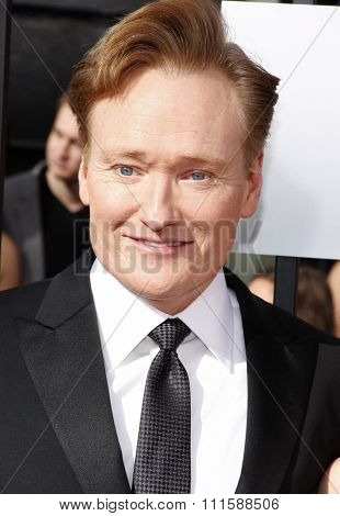 LOS ANGELES, CA - APRIL 13, 2014: Conan O'Brien at the 2014 MTV Movie Awards held at the Nokia Theatre L.A. Live in Los Angeles, USA on April 13, 2014.