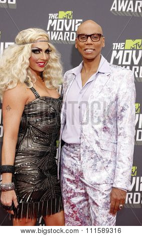 CULVER CITY, CA - APRIL 14, 2013: RuPaul and Alyssa Edwards at the 2013 MTV Movie Awards held at the Sony Pictures Studios in Culver City, CA on April 14, 2013.