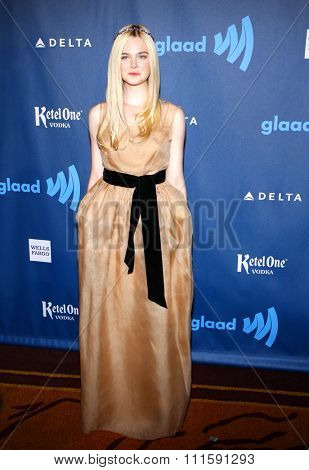 Elle Fanning at the 24th Annual GLAAD Media Awards held at the JW Marriott Los Angeles at L.A. LIVE in Los Angeles, USA on April 20, 2013.
