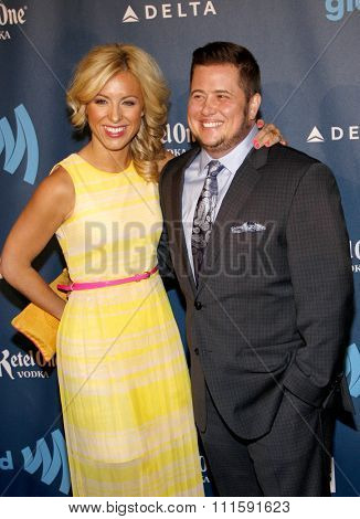 Chaz Bono and Sarah Shriver at the 24th Annual GLAAD Media Awards held at the JW Marriott Los Angeles at L.A. LIVE in Los Angeles, USA on April 20, 2013.