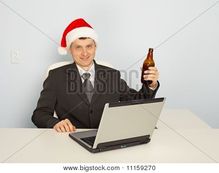 Office Clerk Celebrate Christmas At Work