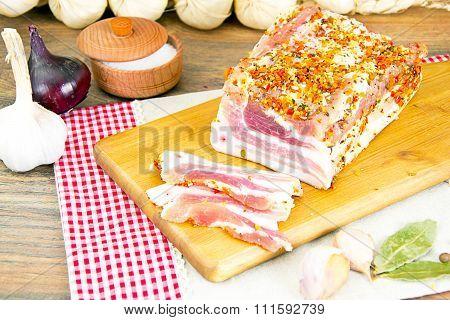 Salted Lard, Raw Pork on Wooden Cutting Board