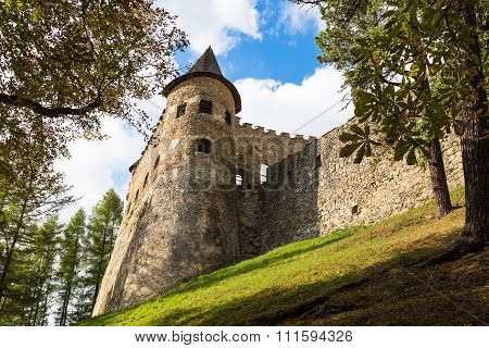 Old Stone Tower With Loopholes. Castle In  Stara Lubovna.