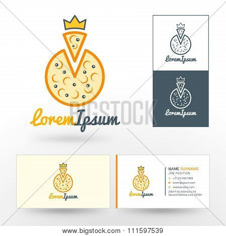 Vector Logo Template. Pizza With Golden Crown. Logo For Pizzerias