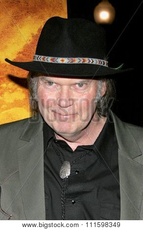 HOLLYWOOD, CALIFORNIA. February 7, 2006. Neil Young attends the Los Angeles Premiere of