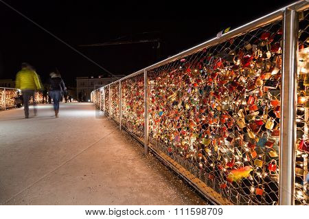 Padlocks On The Makartsteg Bridge In Salzburg At Night