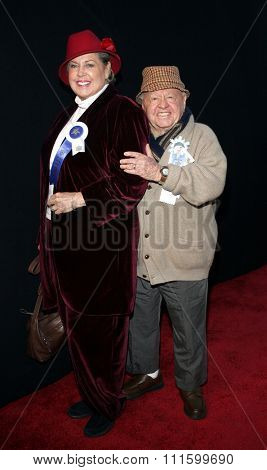 11/27/2005 - Hollywood - Mickey Rooney and wife Jan Rooney attend the 2005 Hollywood Christmas Parade at the Hollywood Roosevelt Hotel in Hollywood, California, United States.
