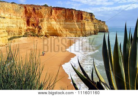Tourists enjoying Benagil Beach in Portugal
